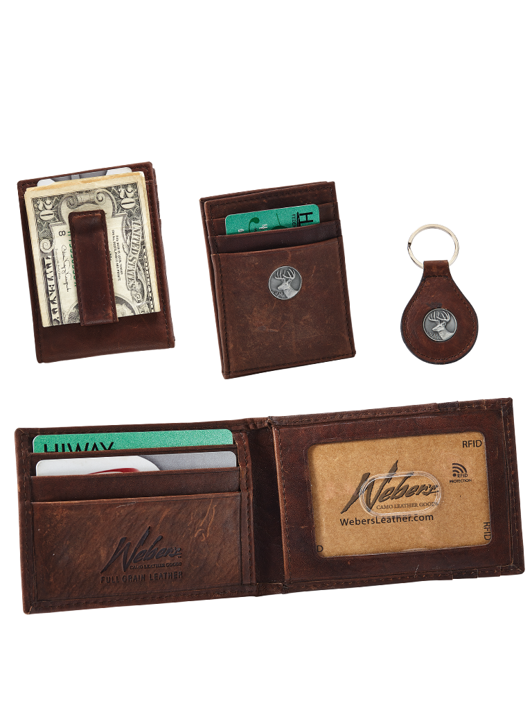 Dynasty Leather Front Pocket Wallet/Key Fob Gift Set